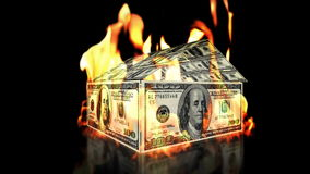 USD House on Fire, loop, stock footage. Video stock video