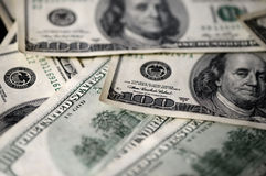 USD hundred dollar bills background. Close up Royalty Free Stock Photography