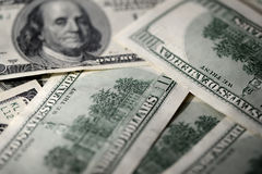 USD hundred dollar bills background. Close up Royalty Free Stock Photos