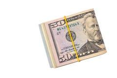 50 usd isolerade dollar Arkivbilder