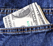 Usd in jeans pocket Stock Image