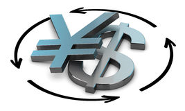 USD JPY Exchange Rate. Euro and Yen symbols with four circular arrows over white background , Illustration of exchange between two currencies Stock Photography
