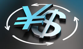 USD JPY Exchange Rate. US Dollar and Japanese Yen symbols over black background with circular arrows. conceptual image for illustration of exchange rate between Stock Photography