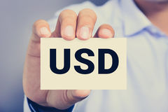 USD letters (United States Dollar currency code) on the card Royalty Free Stock Photography
