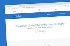 USD-Münze USDC ein Dollar Vereinigter Staaten unterstützte Schlüsselwährung wir stockbild
