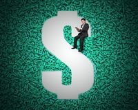 USD money hole on big data background with businessman sitting. Big data privacy and security information technology concept. Businessman using digital tablet royalty free stock image