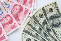 USD och RMB Arkivfoto