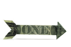 Usd one way money arrow isolated on white. Arrow made of usd currency. Shows direction concept, one way, isolated on white Stock Images