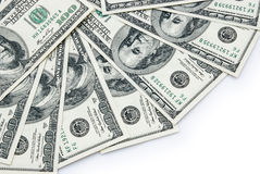 USD paper currency. On white with clipping path Royalty Free Stock Photo