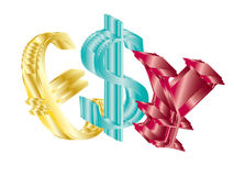 Usd ,pound and rmb. On white background Stock Photos