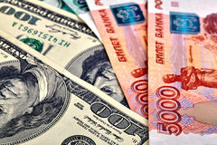 USD RUB banknotes Stock Photos