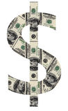 USD symbol. Shaped by USD paper currency Stock Images