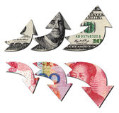 USD UP RMB DOWN,financial concept Royalty Free Stock Photo