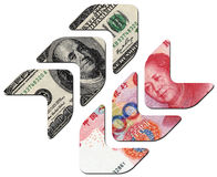 USD UP and RMB DOWN, financial concept Stock Images