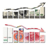 Usd up and rmb down graphics. Financial concept Stock Photo