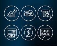 Usd wymieniają, Kredytowa karta i Savings ikony Żądanie krzywa, znaki, Atm i przelewu pieniędzy Zdjęcie Stock