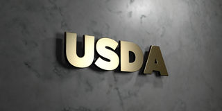 Usda - Gold sign mounted on glossy marble wall  - 3D rendered royalty free stock illustration. This image can be used for an online website banner ad or a Stock Photography