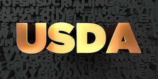Usda - Gold text on black background - 3D rendered royalty free stock picture Stock Photos