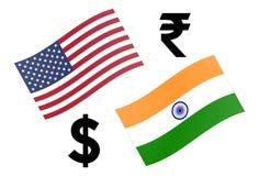 USDINR-Devisenwährungspaar-Vektorillustration Amerikanische und indische Flagge, mit Dollar- und Rupiensymbol lizenzfreie stockfotos