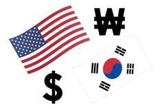 USDKRW-Devisenwährungspaar-Vektorillustration Amerikanische und koreanische Flagge, mit Dollar und gewonnenem Symbol lizenzfreie stockfotos