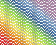 Abstract white geometric pattern with gray lines on colorful rainbow gradient colors - Vector illustration. Use as background, backdrop, montage, or texture in royalty free illustration