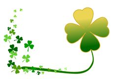 Saint Patrick`s day, gold and green shamrock clover isolated on white background. Vector illustration. Use as background, greeting card, or element for graphic Stock Photography