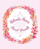 Watercolor background with a lovely wreath-frame made of pink flowers. Use as a greeting card for any holiday or as an invitation to any event Royalty Free Stock Images