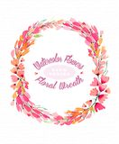 Watercolor background with a lovely wreath-frame made of pink flowers. Use as a greeting card for any holiday or as an invitation to any event Royalty Free Stock Photo