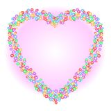 Heart shape pattern formed by colorful circle shapes in various sizes on gradient soft pink background. Vector illustration, EPS10 stock illustration