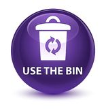 Use the bin glassy purple round button. Use the bin isolated on glassy purple round button abstract illustration Royalty Free Stock Photography