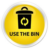 Use the bin premium yellow round button. Use the bin isolated on premium yellow round button abstract illustration Stock Images