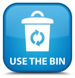 Use the bin special cyan blue square button. Use the bin isolated on special cyan blue square button abstract illustration Stock Photos