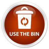 Use the bin premium brown round button. Use the bin isolated on premium brown round button abstract illustration Royalty Free Stock Photos
