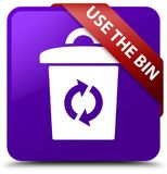 Use the bin purple square button red ribbon in corner. Use the bin isolated on purple square button with red ribbon in corner abstract illustration Royalty Free Stock Photo
