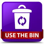Use the bin purple square button red ribbon in middle. Use the bin isolated on purple square button with red ribbon in middle abstract illustration Royalty Free Stock Photos