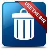 Use the bin (trash icon) blue square button red ribbon in corner Royalty Free Stock Photo