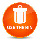 Use the bin (trash icon) elegant orange round button Royalty Free Stock Photography