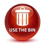 Use the bin (trash icon) glassy brown round button Stock Image