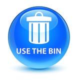 Use the bin (trash icon) glassy cyan blue round button Stock Photo