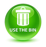 Use the bin (trash icon) glassy green round button Royalty Free Stock Image