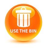 Use the bin (trash icon) glassy orange round button Stock Photography