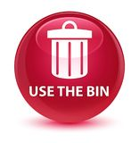 Use the bin (trash icon) glassy pink round button Royalty Free Stock Images