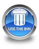 Use the bin (trash icon) glossy blue round button Royalty Free Stock Photography