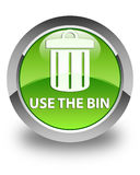 Use the bin (trash icon) glossy green round button Royalty Free Stock Images
