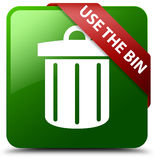 Use the bin trash icon green square button Royalty Free Stock Images