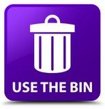 Use the bin (trash icon) purple square button Stock Images