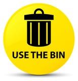 Use the bin (trash icon) yellow round button Stock Photos
