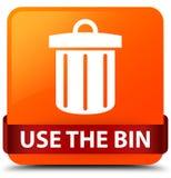 Use the bin (trash icon) orange square button red ribbon in midd Stock Photo