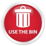 Use the bin (trash icon) premium red round button Royalty Free Stock Photo