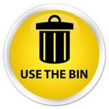 Use the bin (trash icon) premium yellow round button Stock Photography